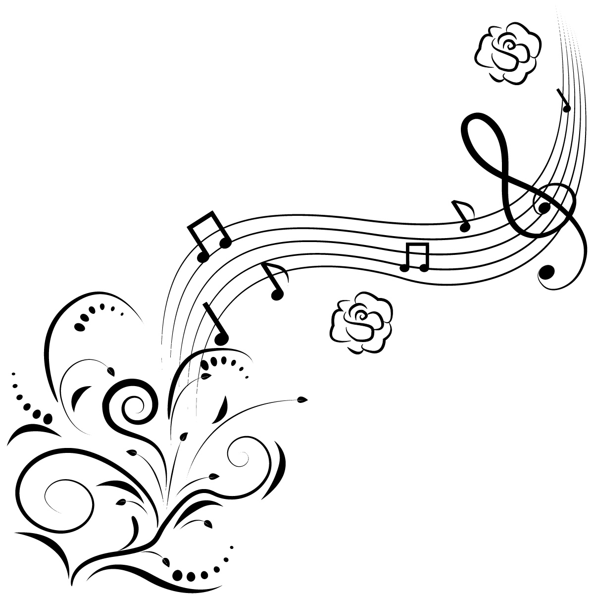 music note coloring page design
