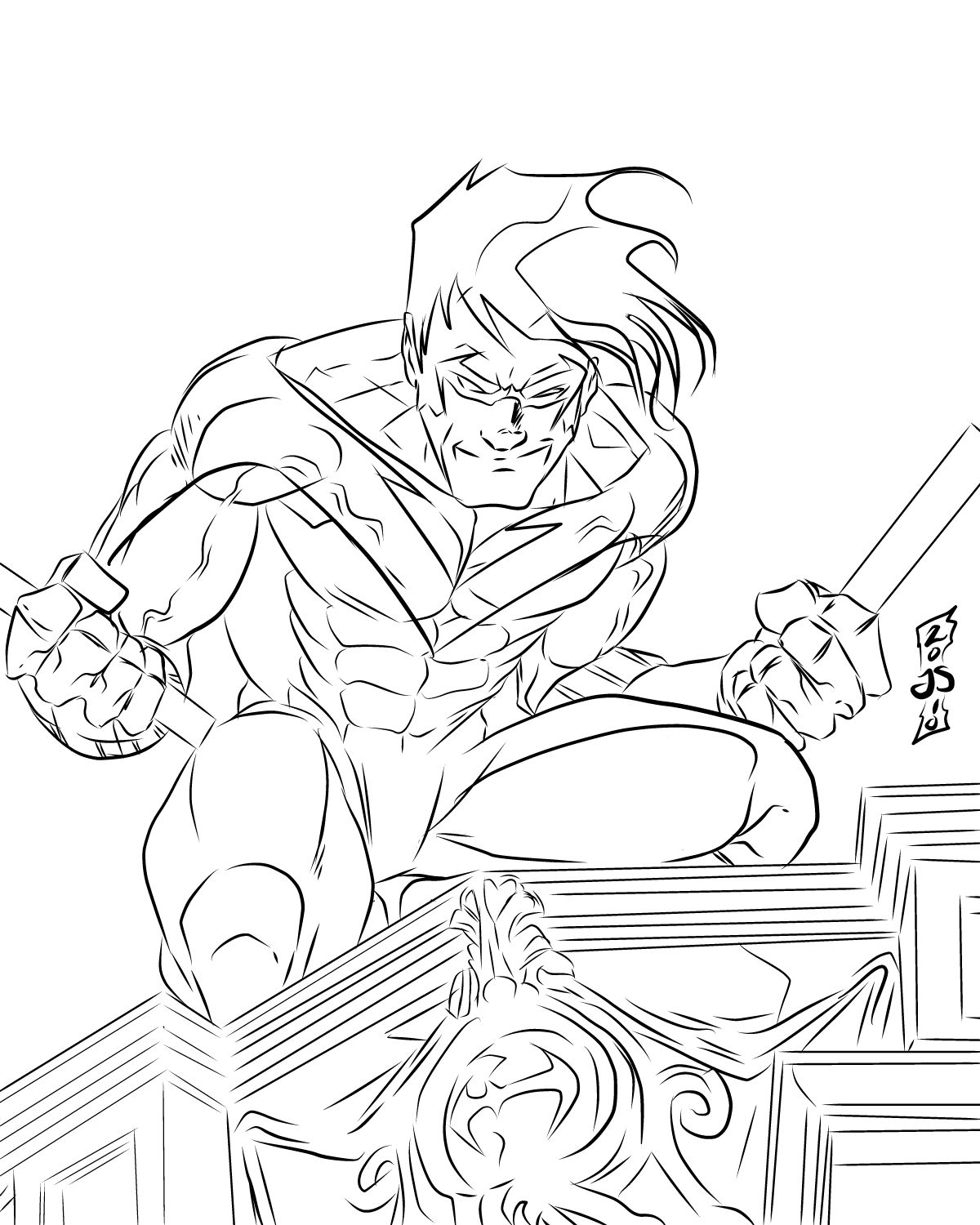 nightwing coloring page - Nightwing Coloring Pages