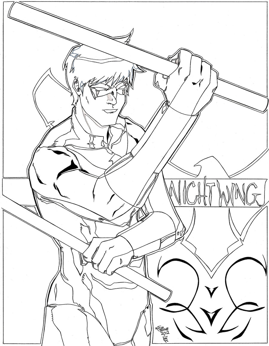 Disney universe coloring pages - Nightwing Coloring Pages For Kids