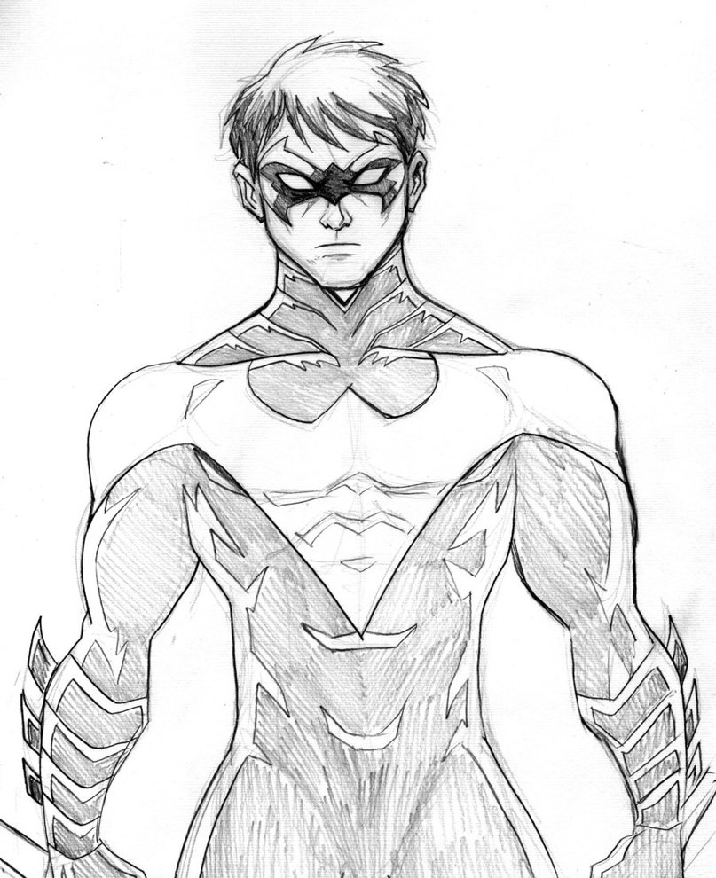 nightwing coloring pages printable - Nightwing Coloring Pages
