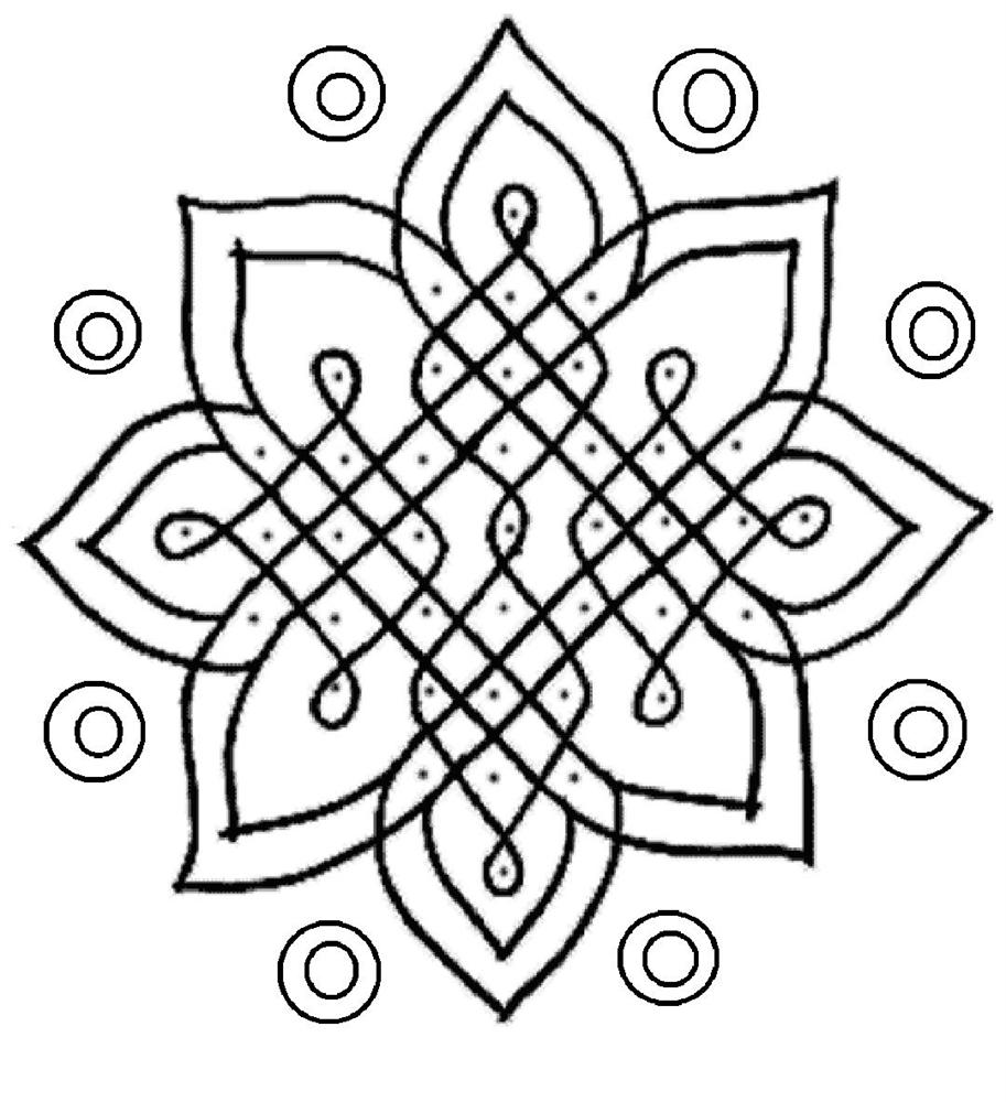 pictures of rangoli coloring pages - Colour In For Kids