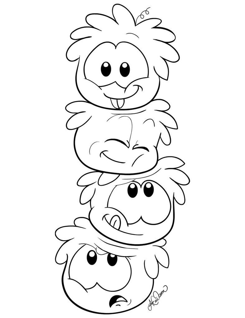 puffle coloring pages | Free Printable Puffle Coloring Pages For Kids