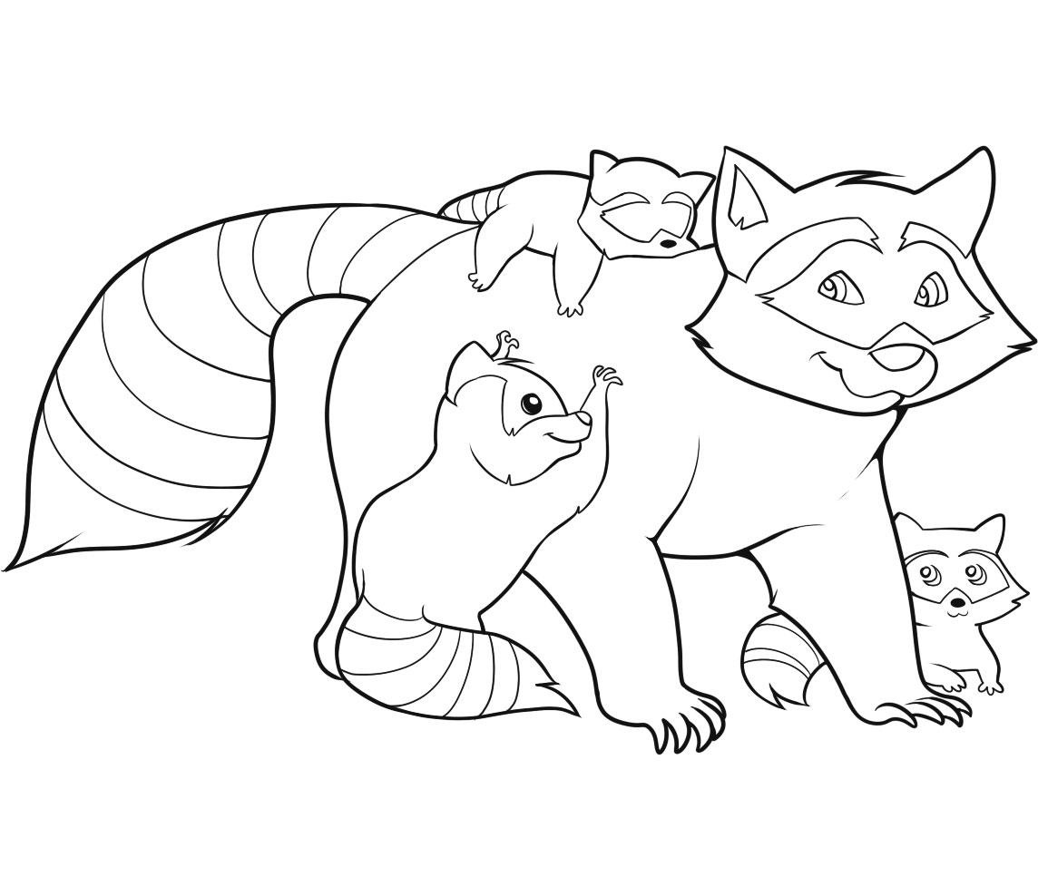 raccoon coloring pages for kids - Baby Forest Animals Coloring Pages