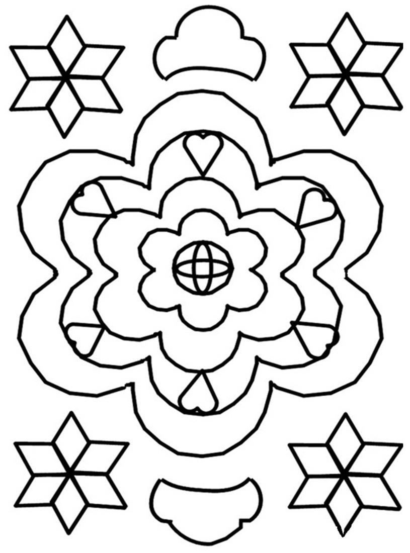 Printable Rangoli Coloring Pages Kids