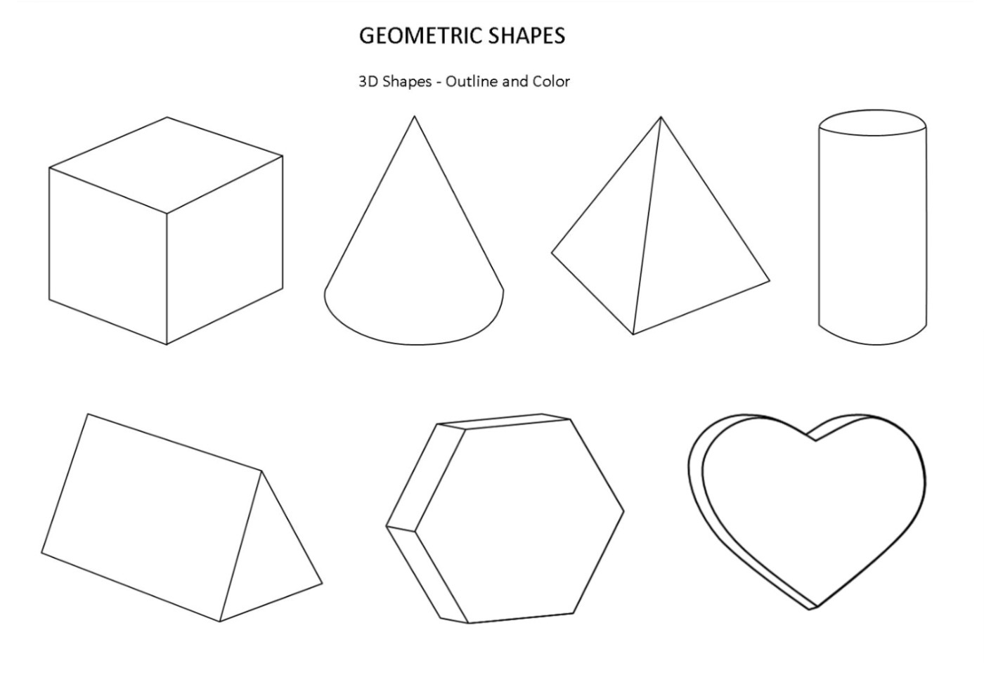 Free printable shapes coloring pages for kids for 3 dimensional cube template