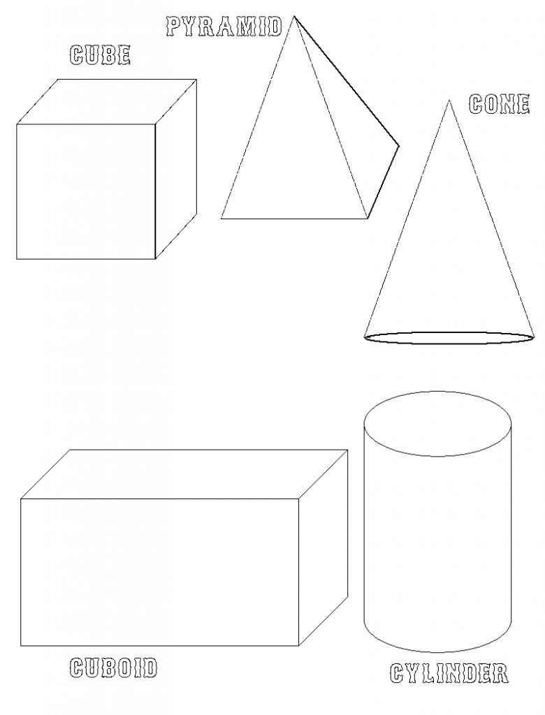 Free coloring pages of pyramid geometric figures