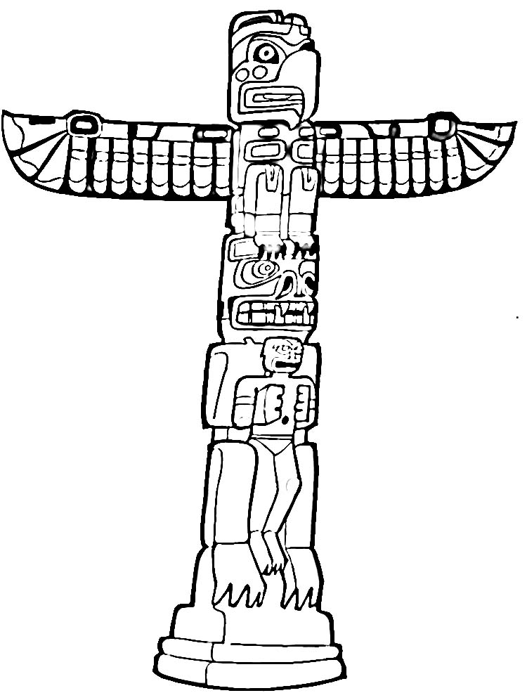 Totem Pole Coloring Page Printable