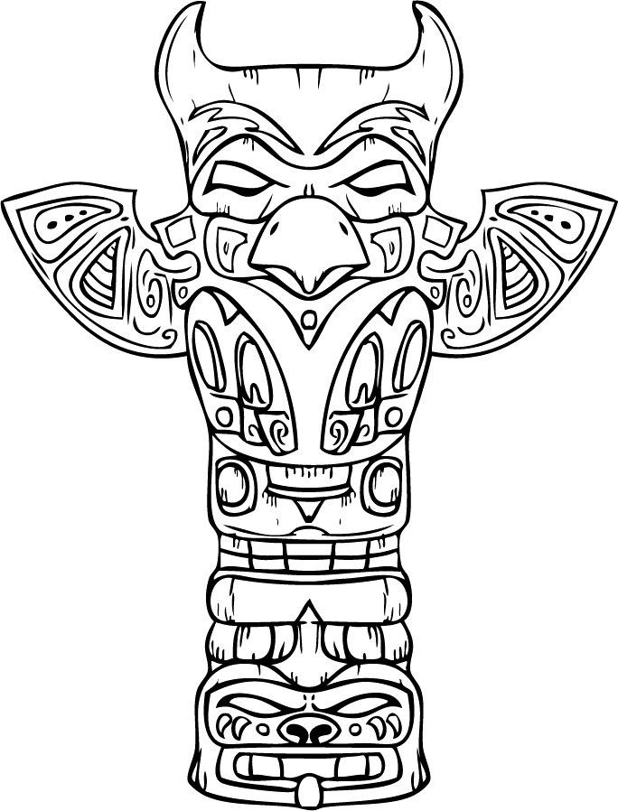 totem pole animal coloring pages - photo#25