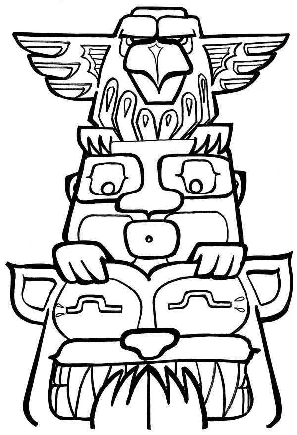 totem pole animal coloring pages - photo#23
