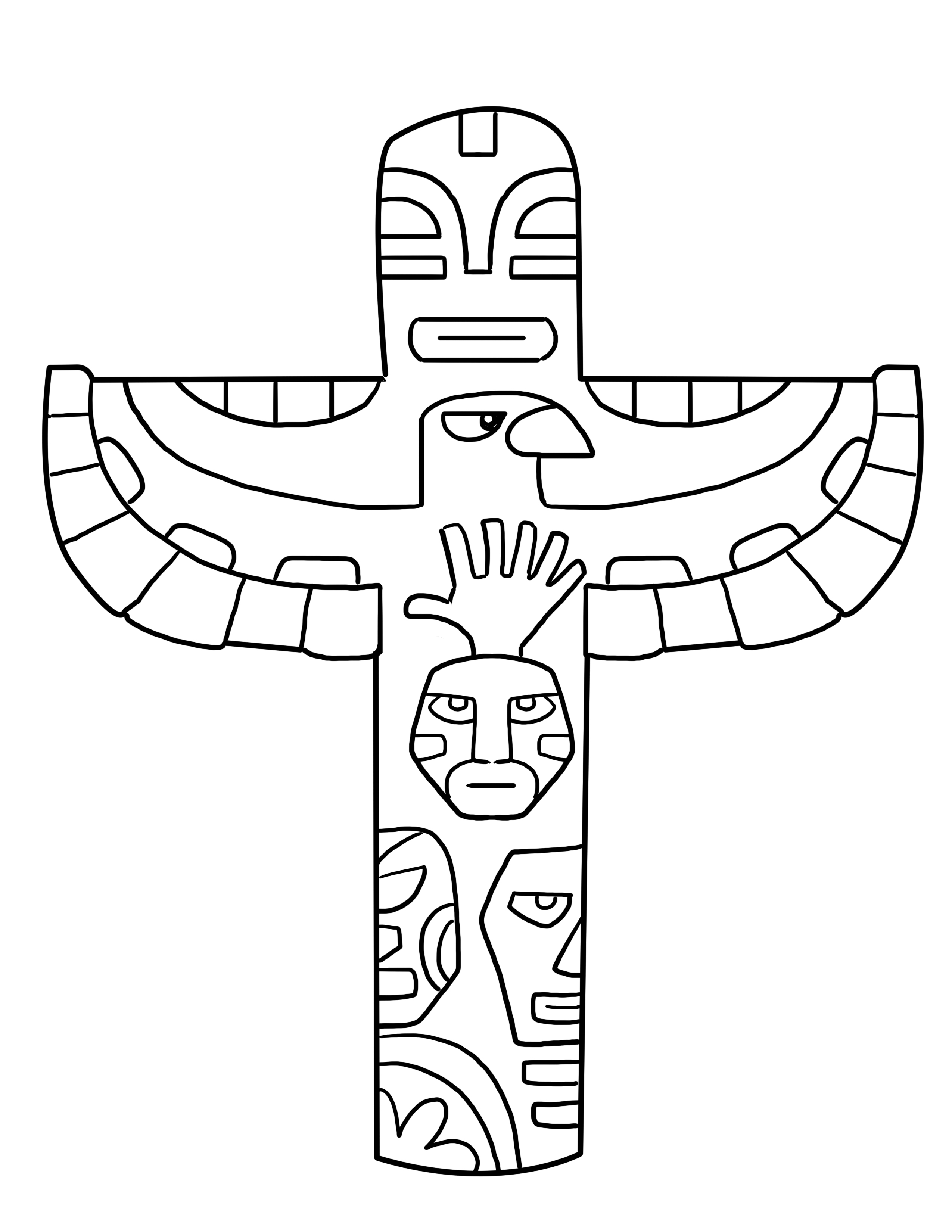 totem pole animal coloring pages - photo#15