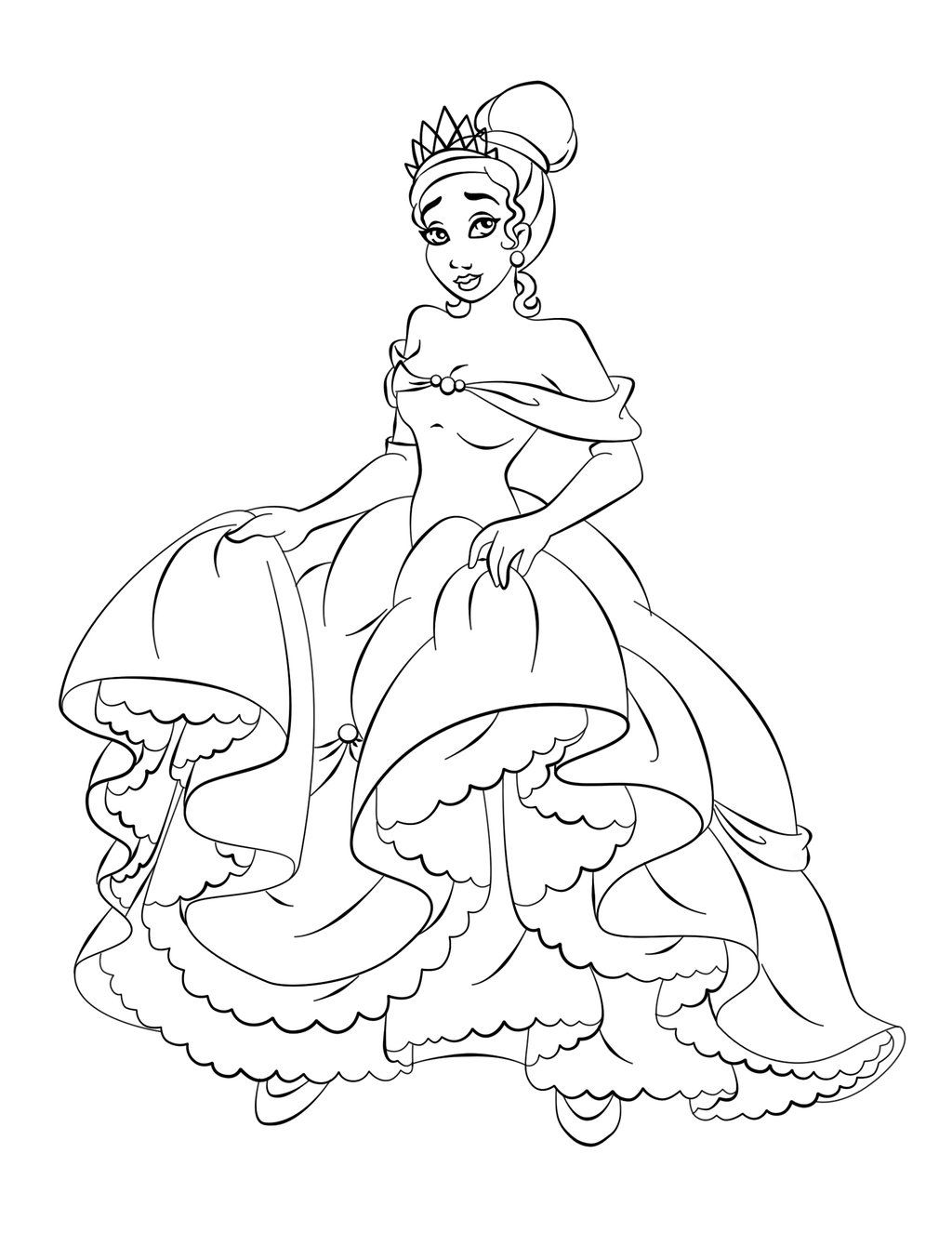 Free Printable Princess Tiana Coloring Pages For Kids Princess Dress Coloring Pages Free Coloring Sheets