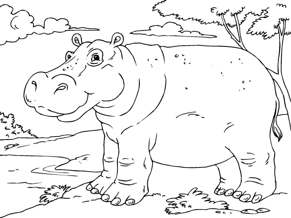 Christmas Hippo Coloring Pages