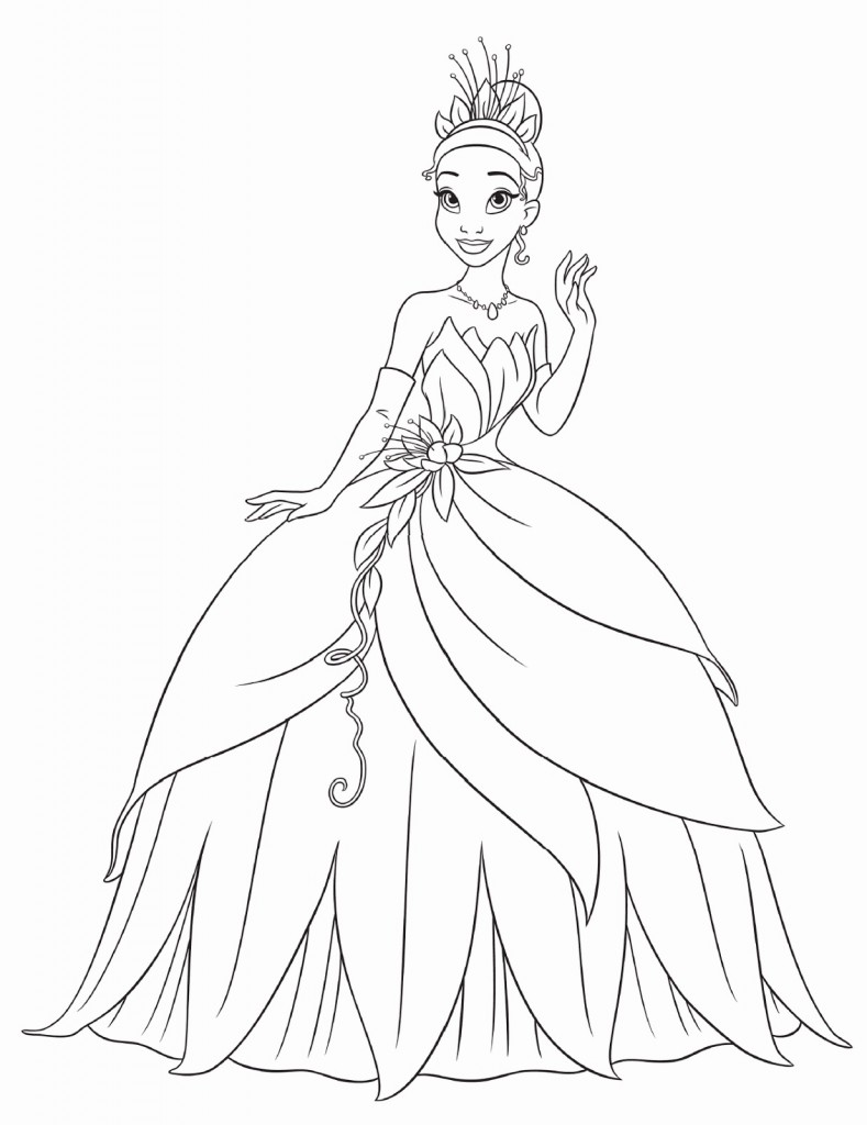 Printable Princess Tiana Coloring Pages Kids