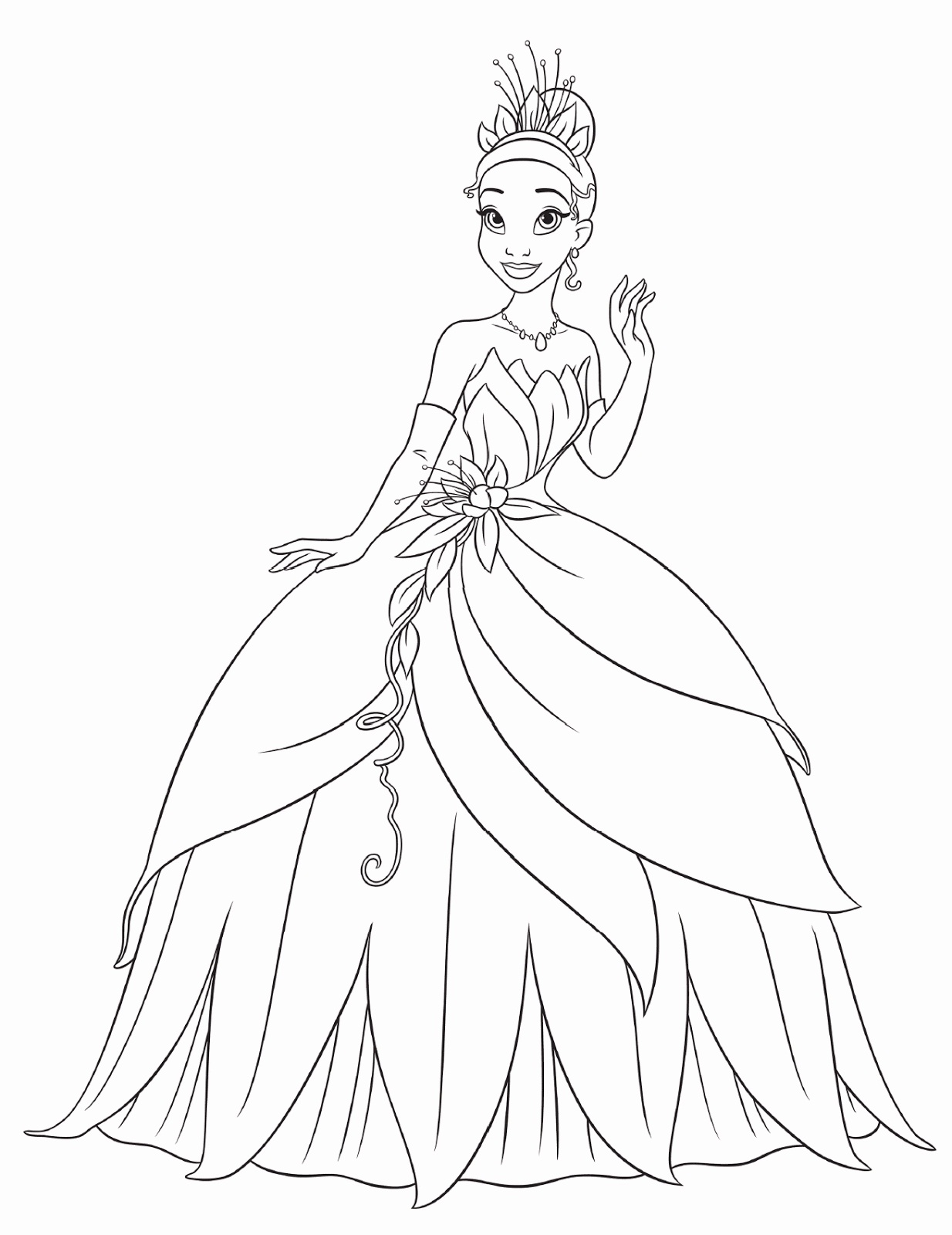 Free printable princess tiana coloring pages for kids for Princess printable color pages