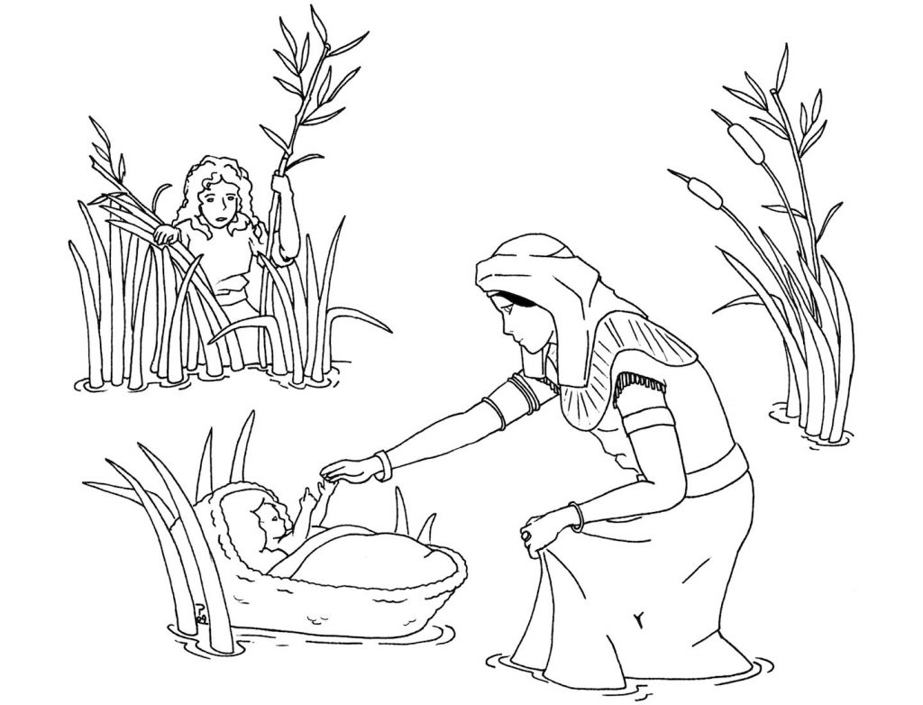 moses in bulrushes coloring pages - photo#30