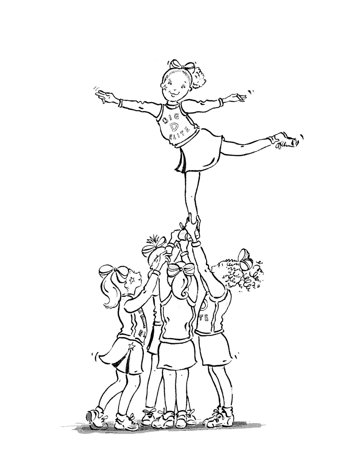 cheerleading coloring pages for grils - photo#7