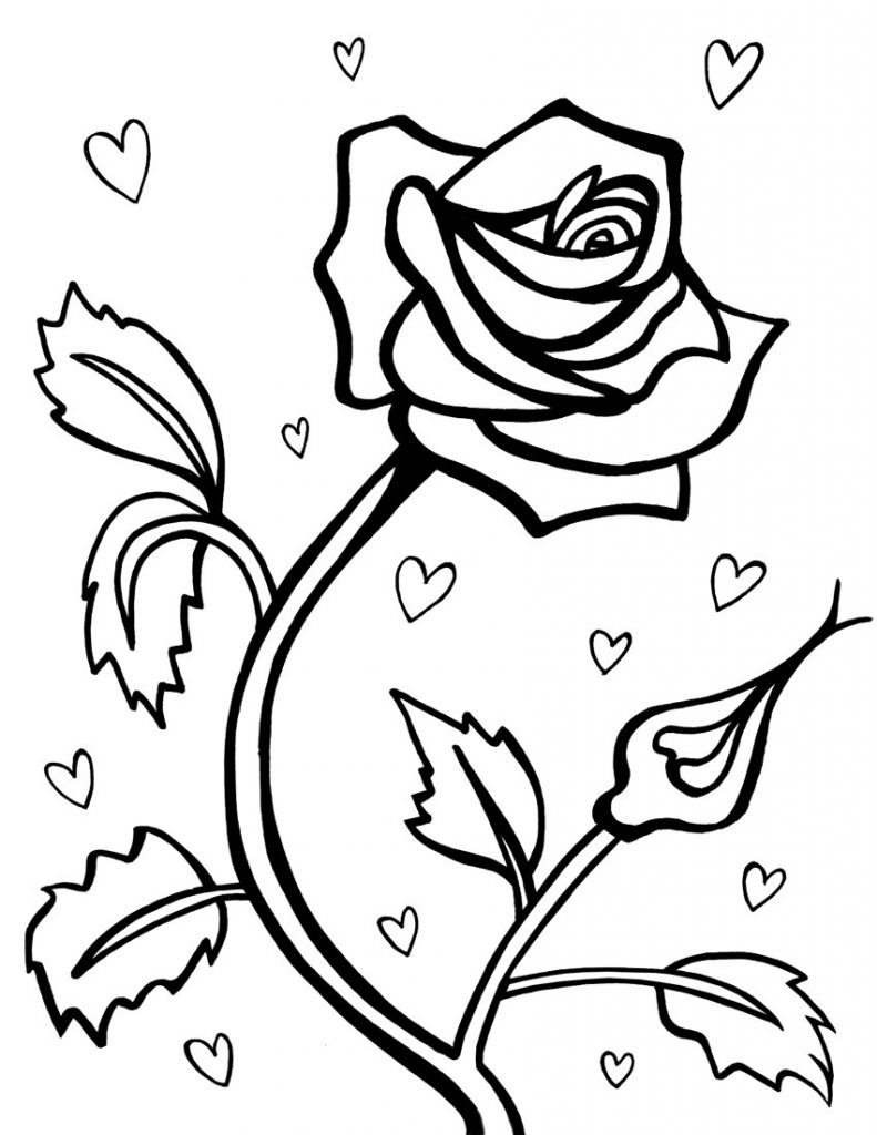 coloring pages flowers and hearts - free printable roses coloring pages for kids