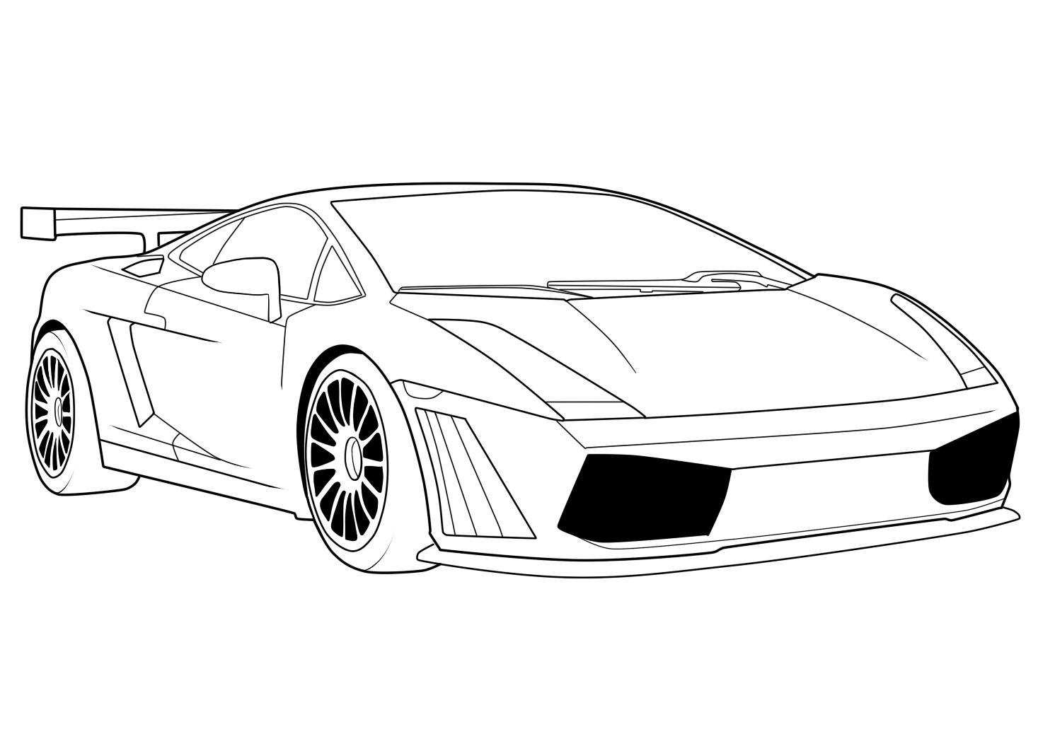 Coloring in the car - Lamborghini Car Coloring Pages