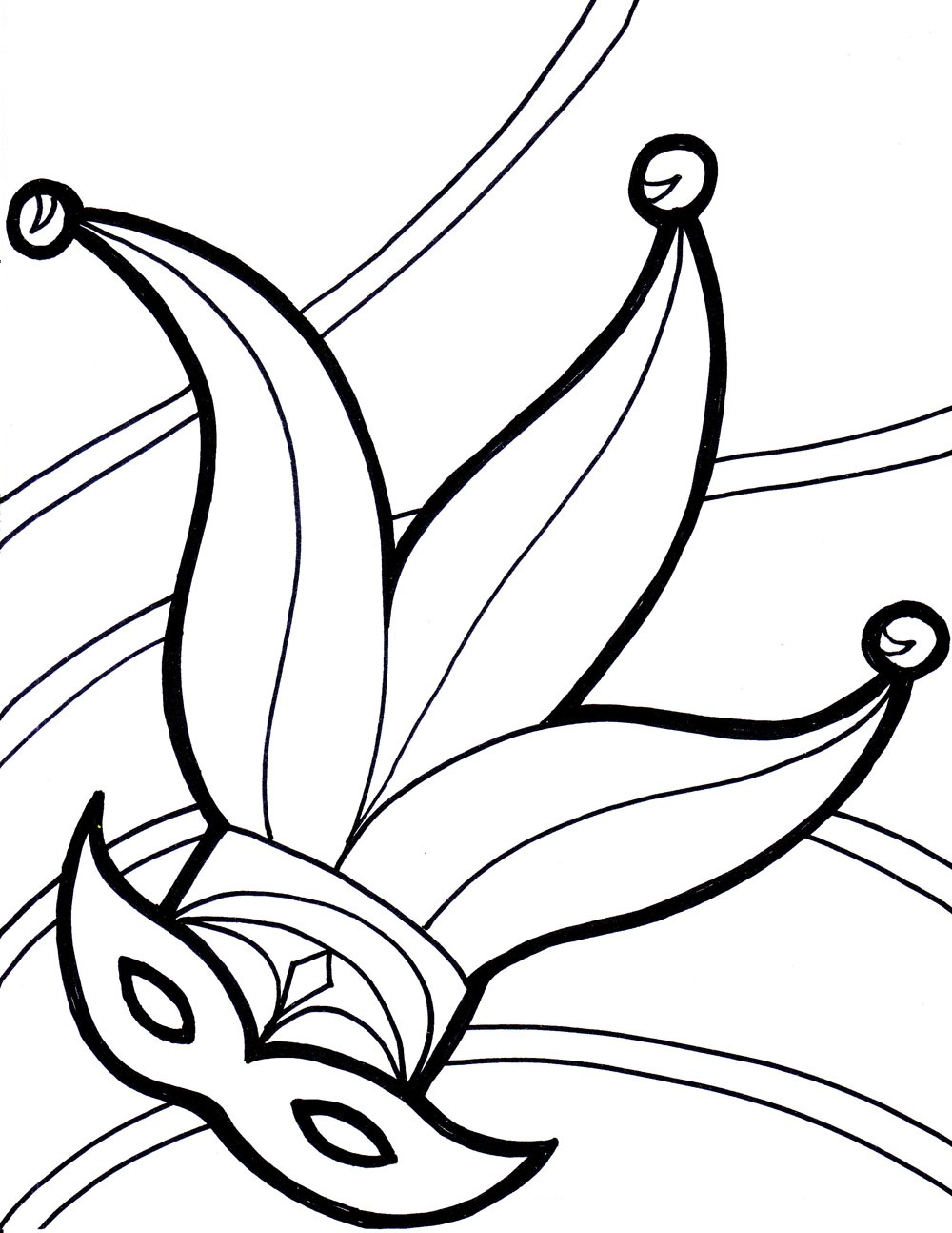 Mardi Gras Mask Coloring Pages Printable