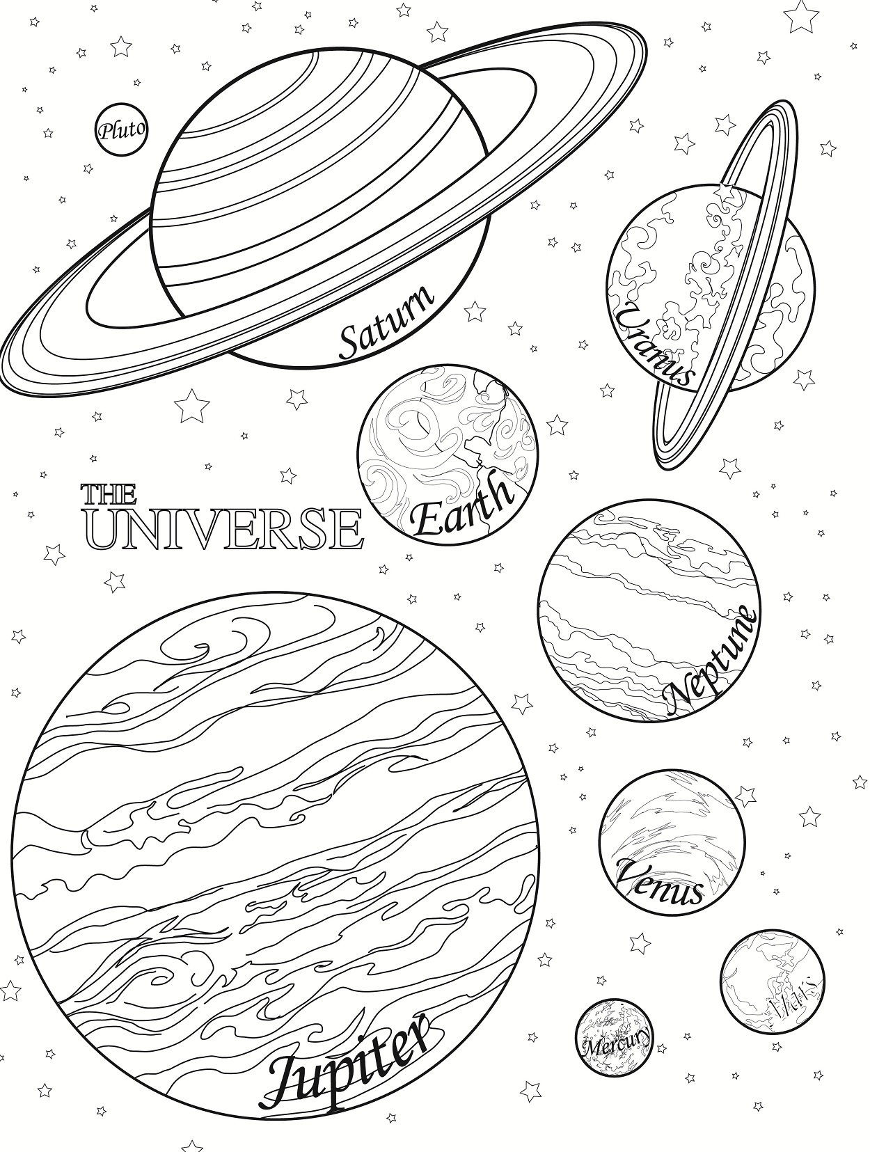 Free printable planet coloring pages for kids for Free coloring book pages to print