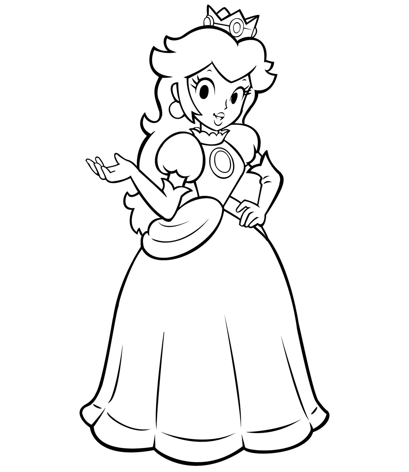 Free princess peach coloring pages for kids for Princess printable color pages