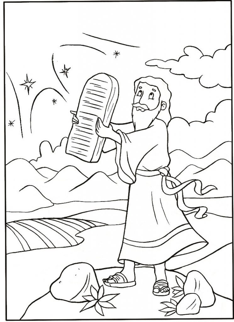 Free printable moses coloring pages for kids for Ten coloring page