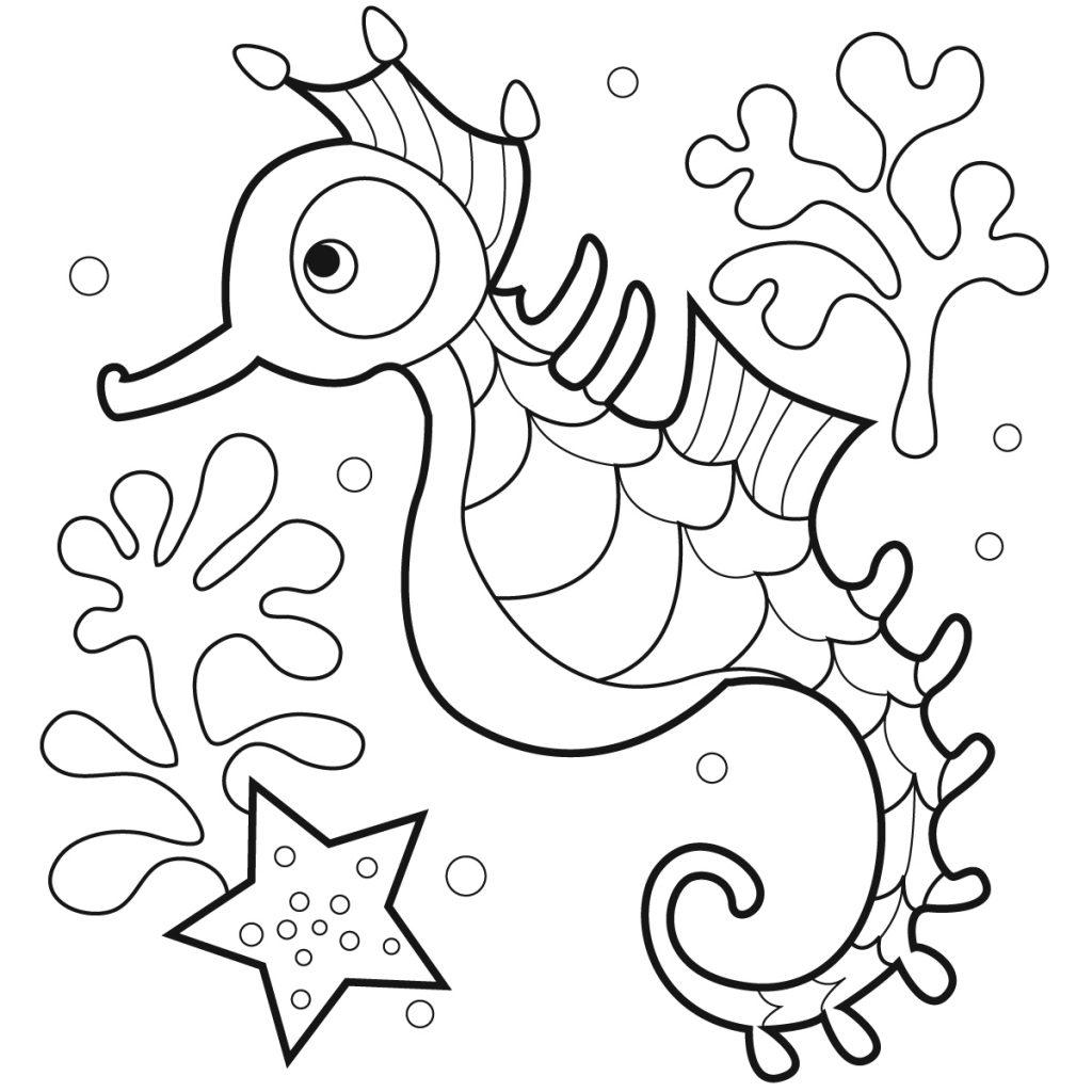 free printable coloring pages for kids - free printable seahorse coloring pages for kids