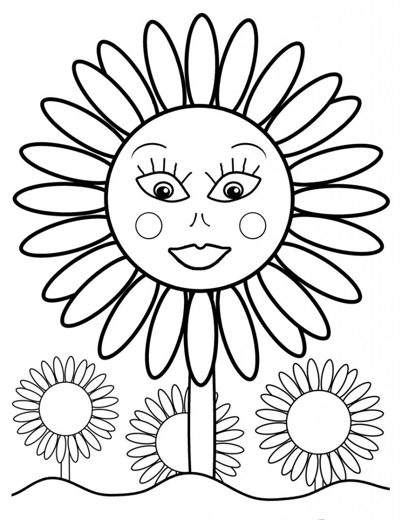 Free printable sunflower coloring pages for kids for Free online coloring pages to print