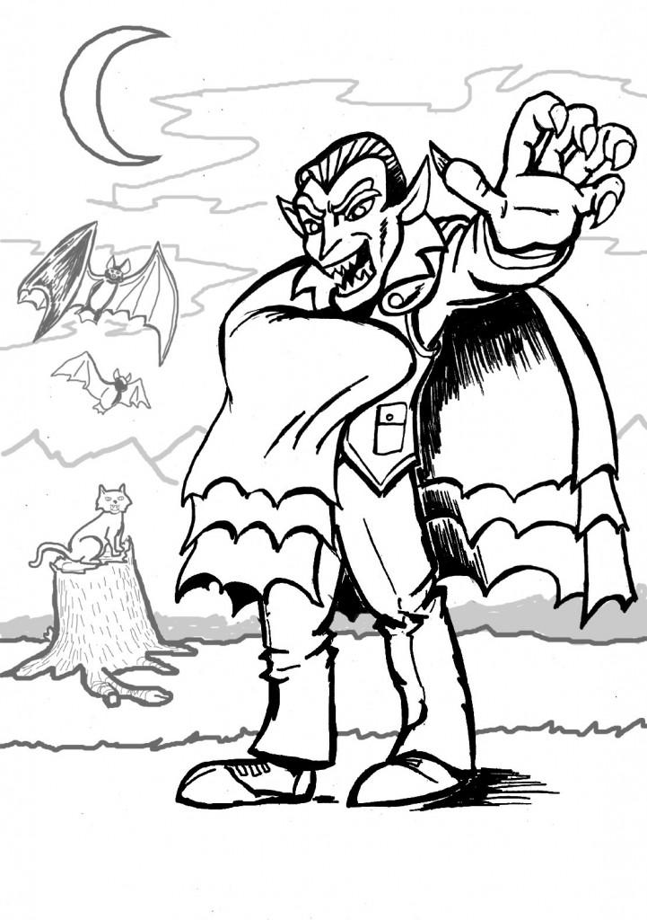 children online coloring pages | Free Printable Vampire Coloring Pages For Kids