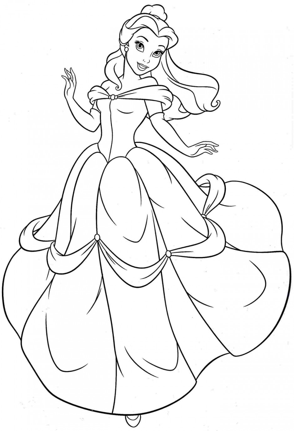Free color pages princess - Belle Princess Coloring Pages