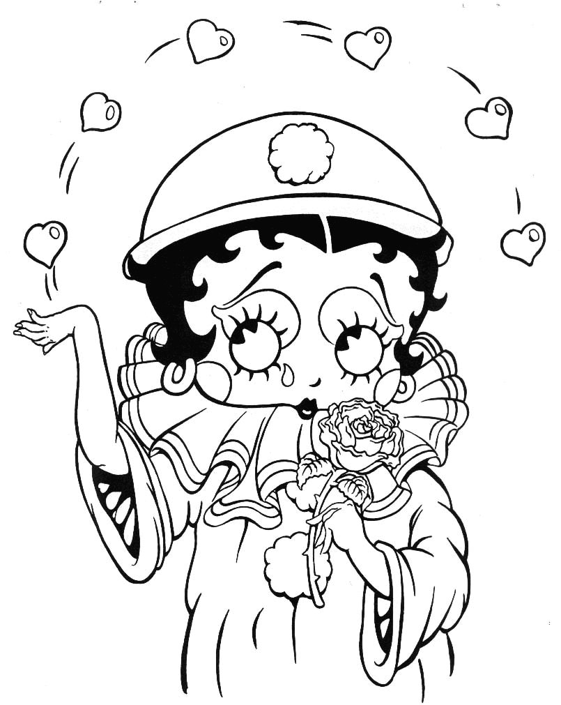 Free betty boop coloring pages to print - Betty Boop Coloring Pages For Kids
