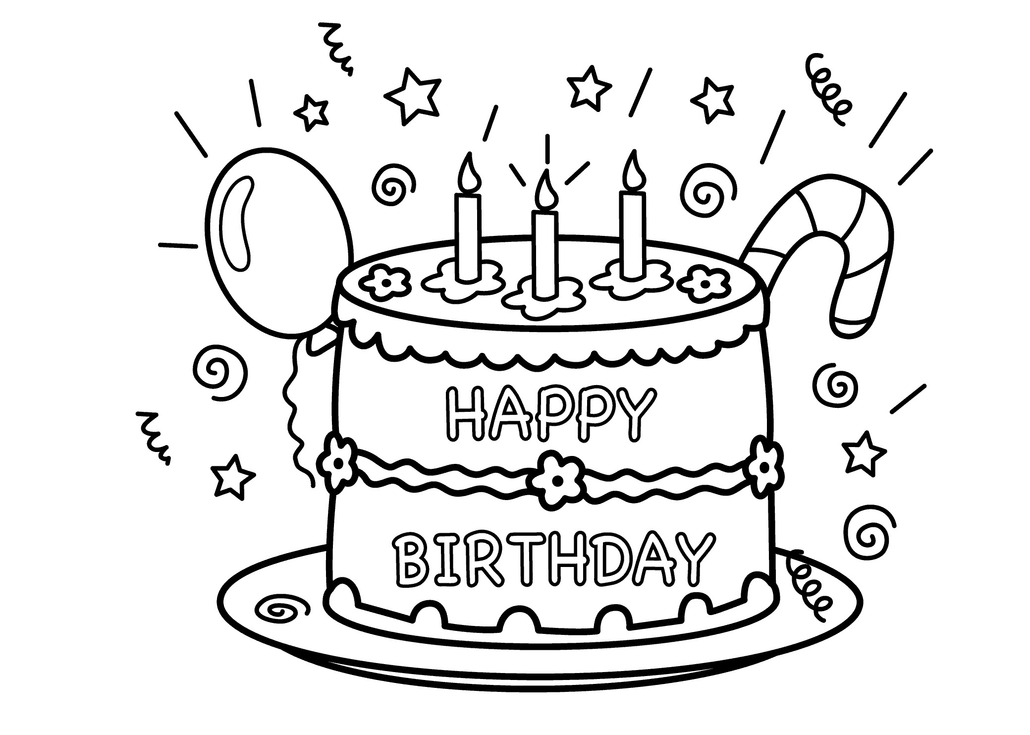 birthday cake color page - Lollipop Coloring Pages Printable
