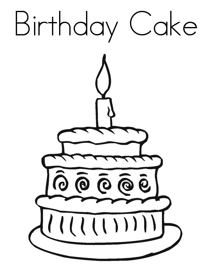 Birthday Cake Pictures To Color : Free Printable Birthday Cake Coloring Pages For Kids