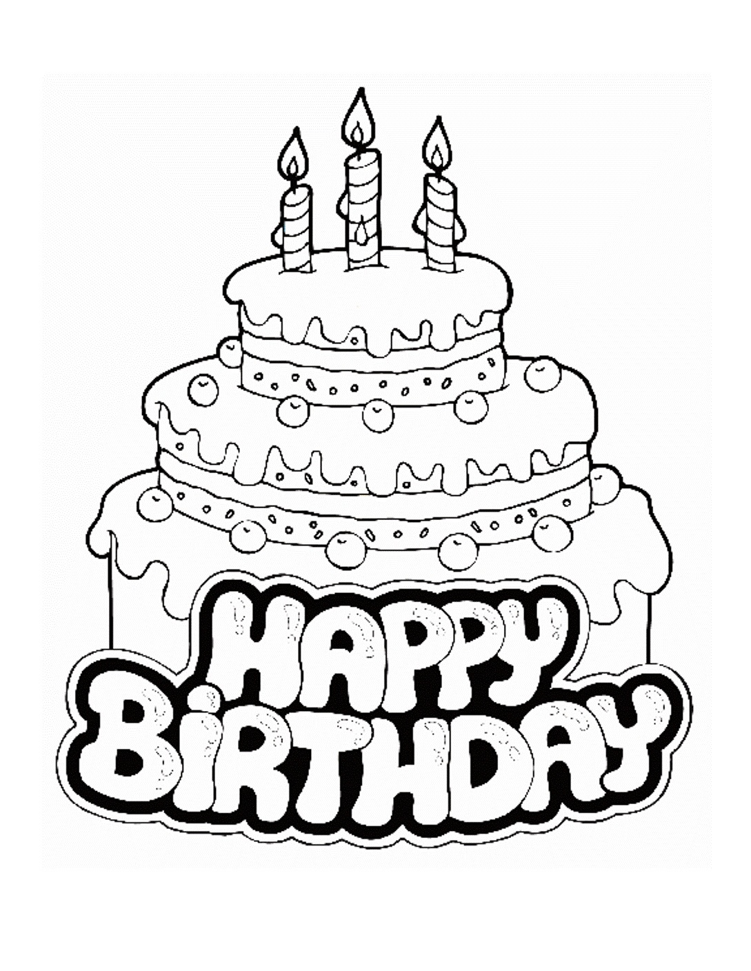 Colouring in birthday cake - Birthday Cake Coloring Pages Printable