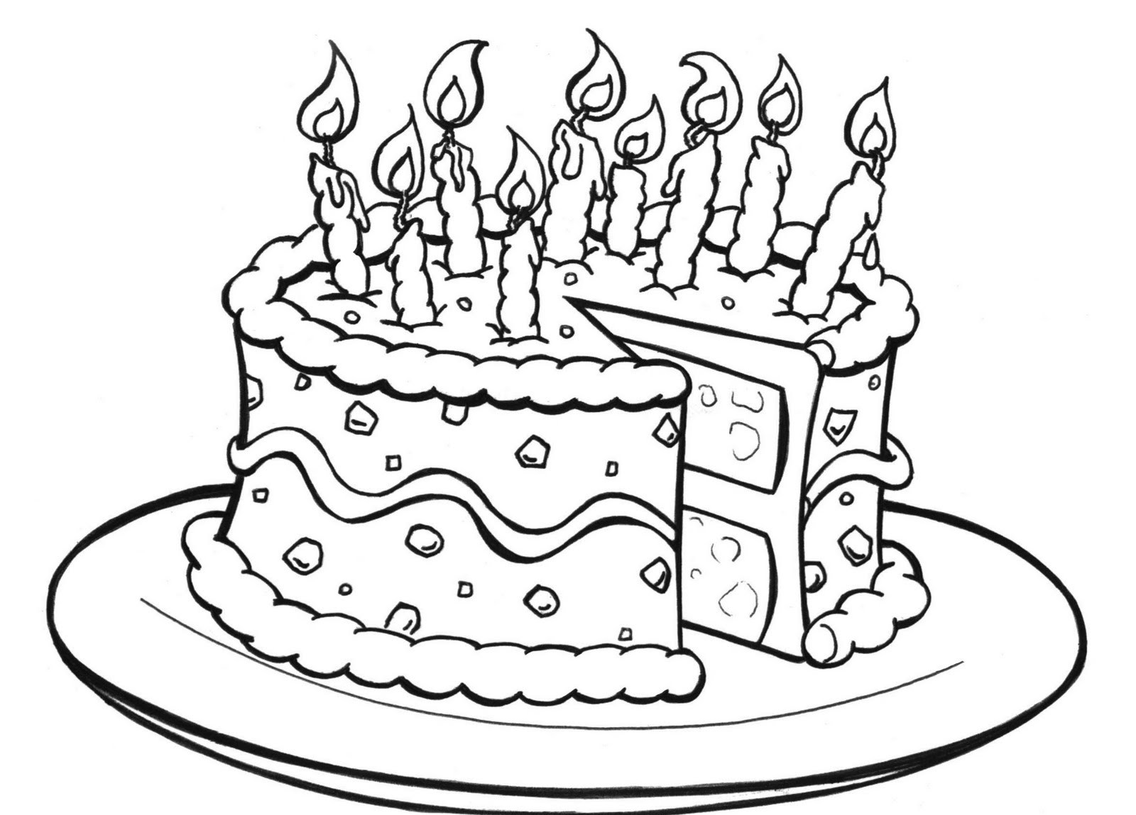 Cake Images Print : Free Printable Birthday Cake Coloring Pages For Kids