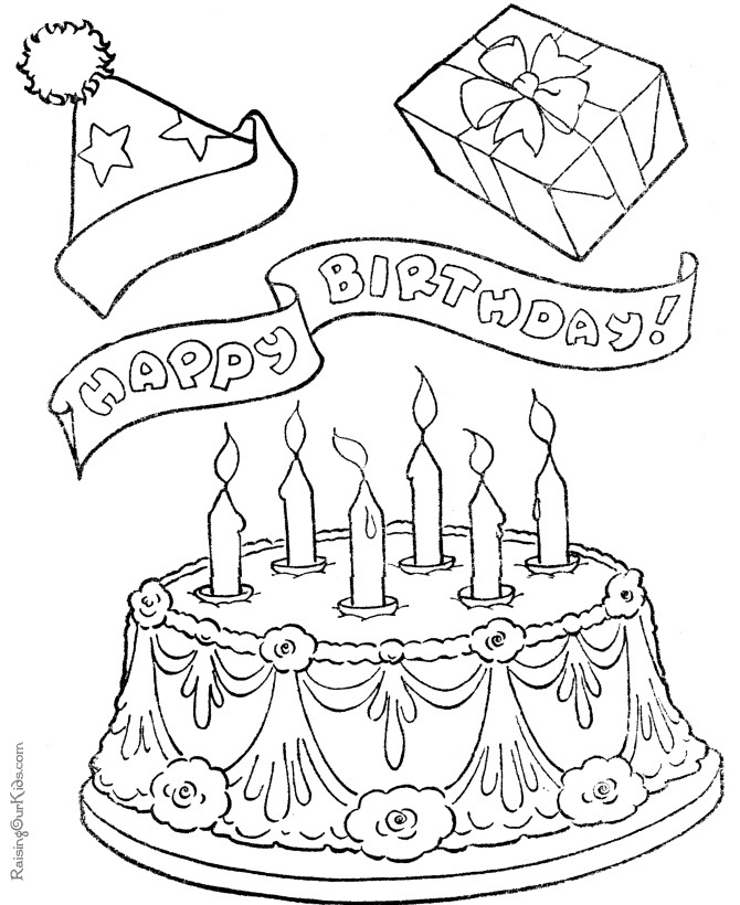 birthday cakes coloring pages - Birthday Cake Coloring Pages