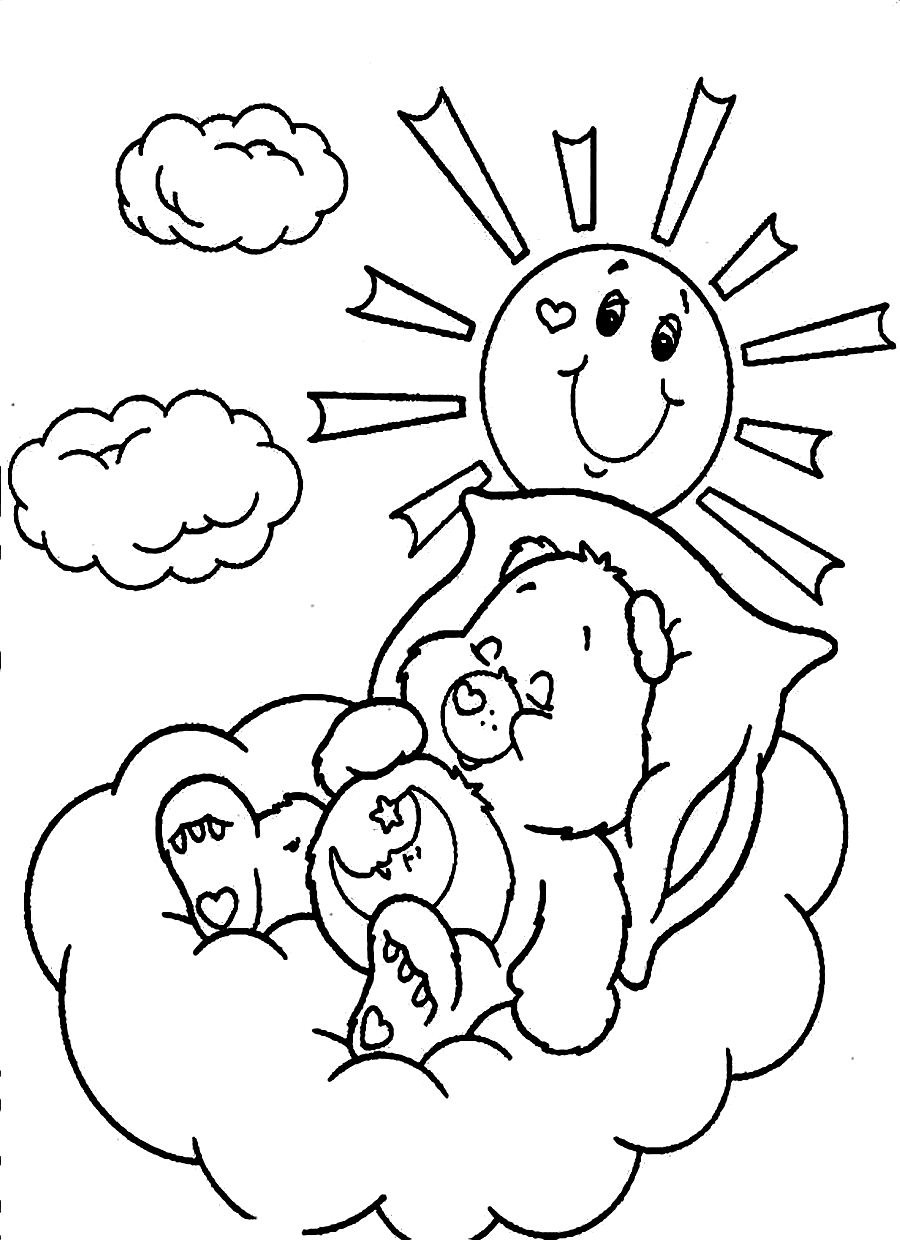 Coloring pages for toddlers sleeping - Care Bear Coloring Pages For Kids