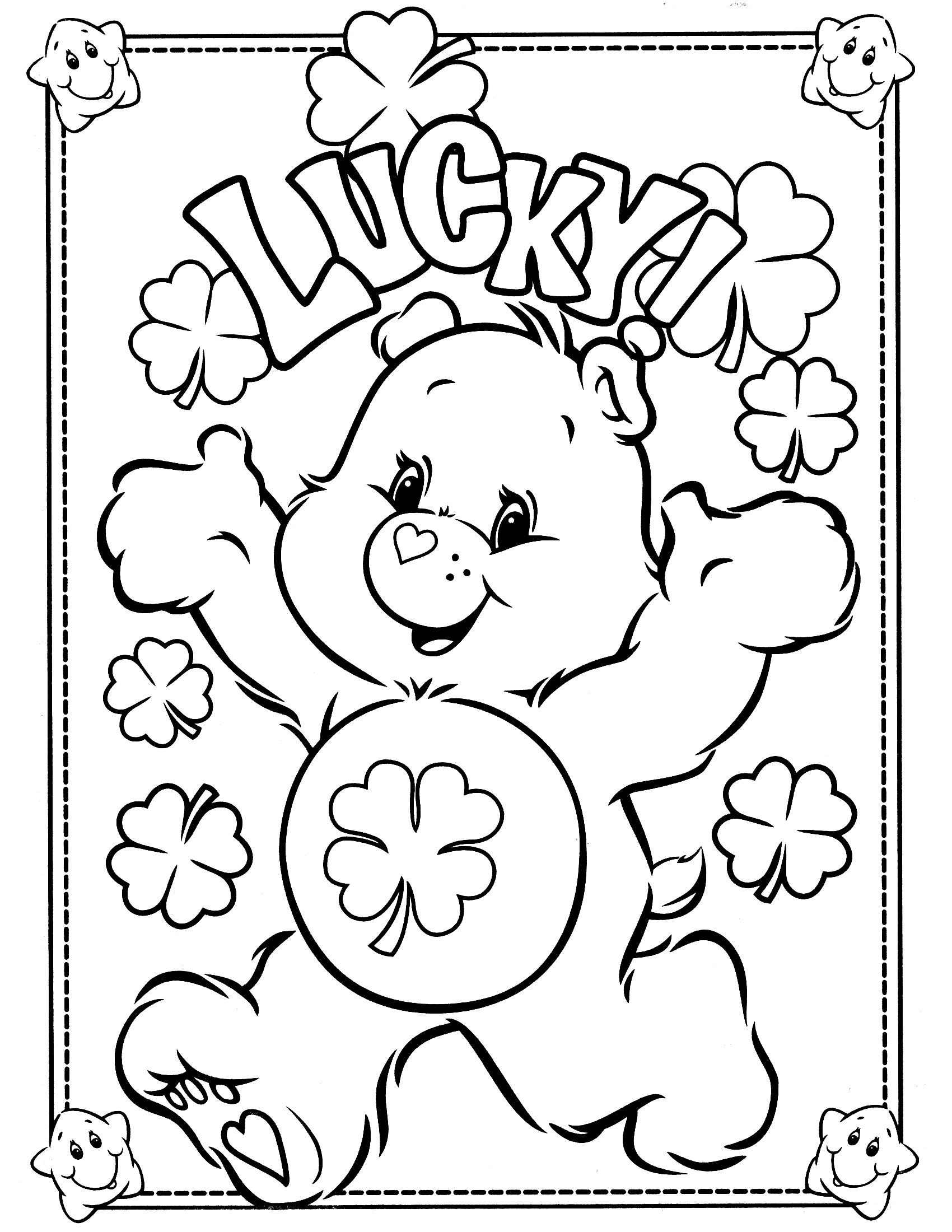Free printable care bear coloring pages for kids for Free color page printables