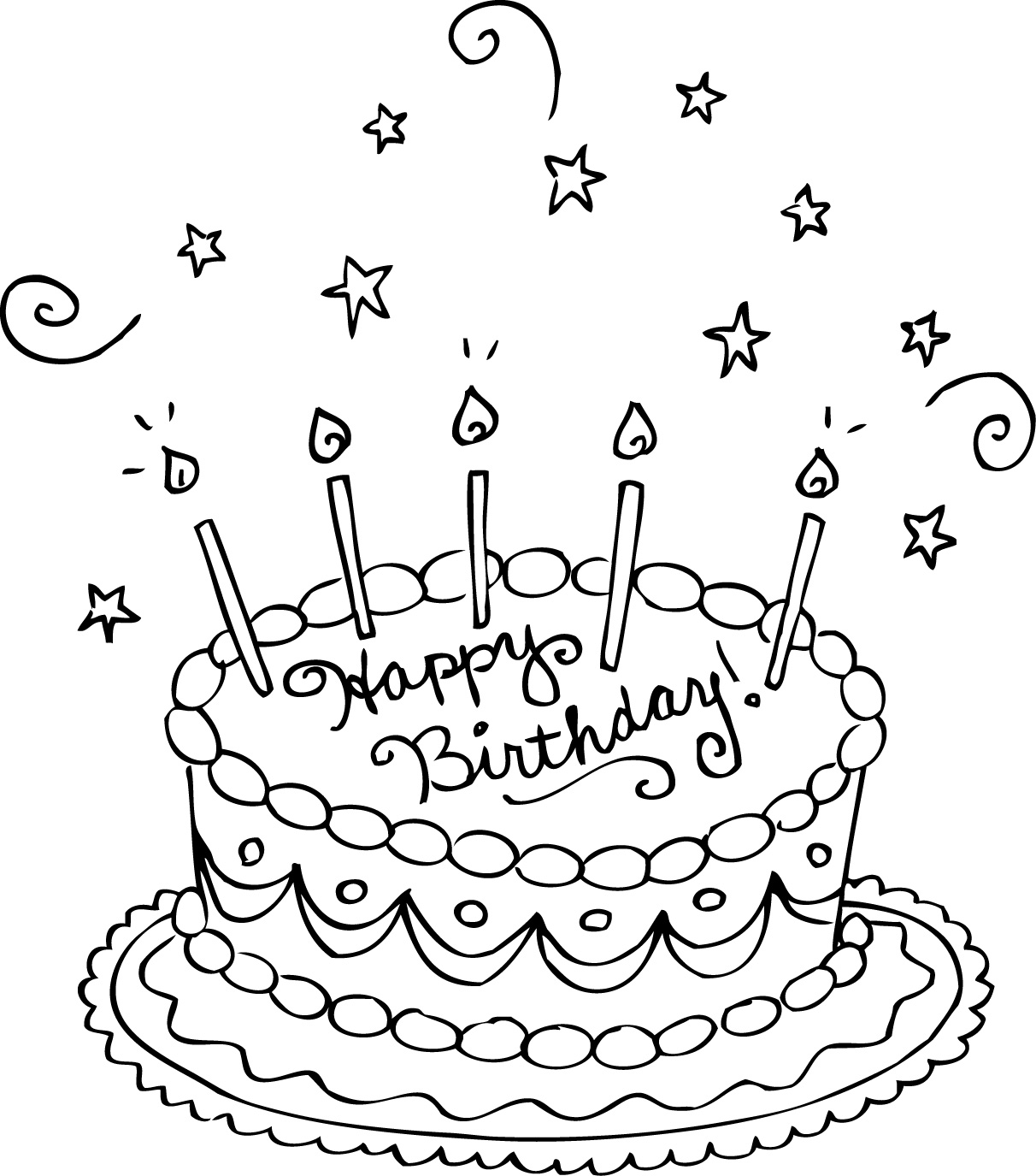 Colouring in birthday cake - Coloring Page Birthday Cake