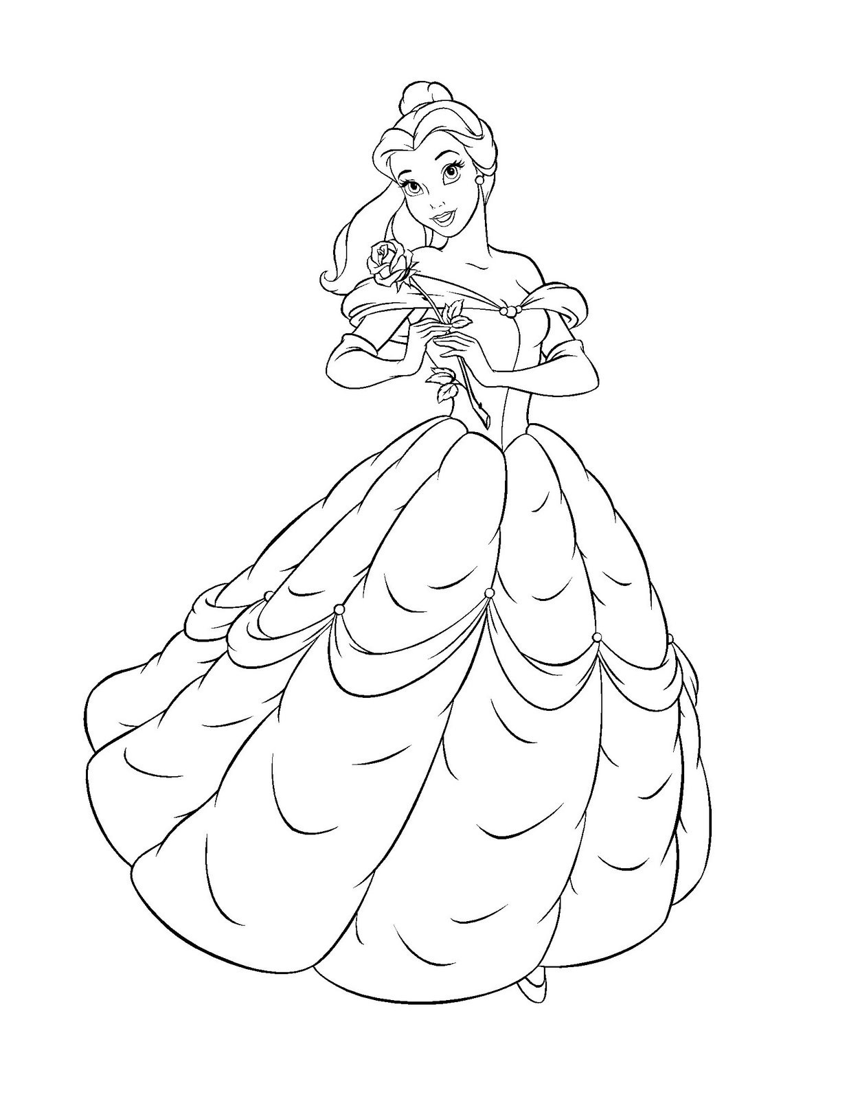 Free printable belle coloring pages for kids for Coloring book pages free
