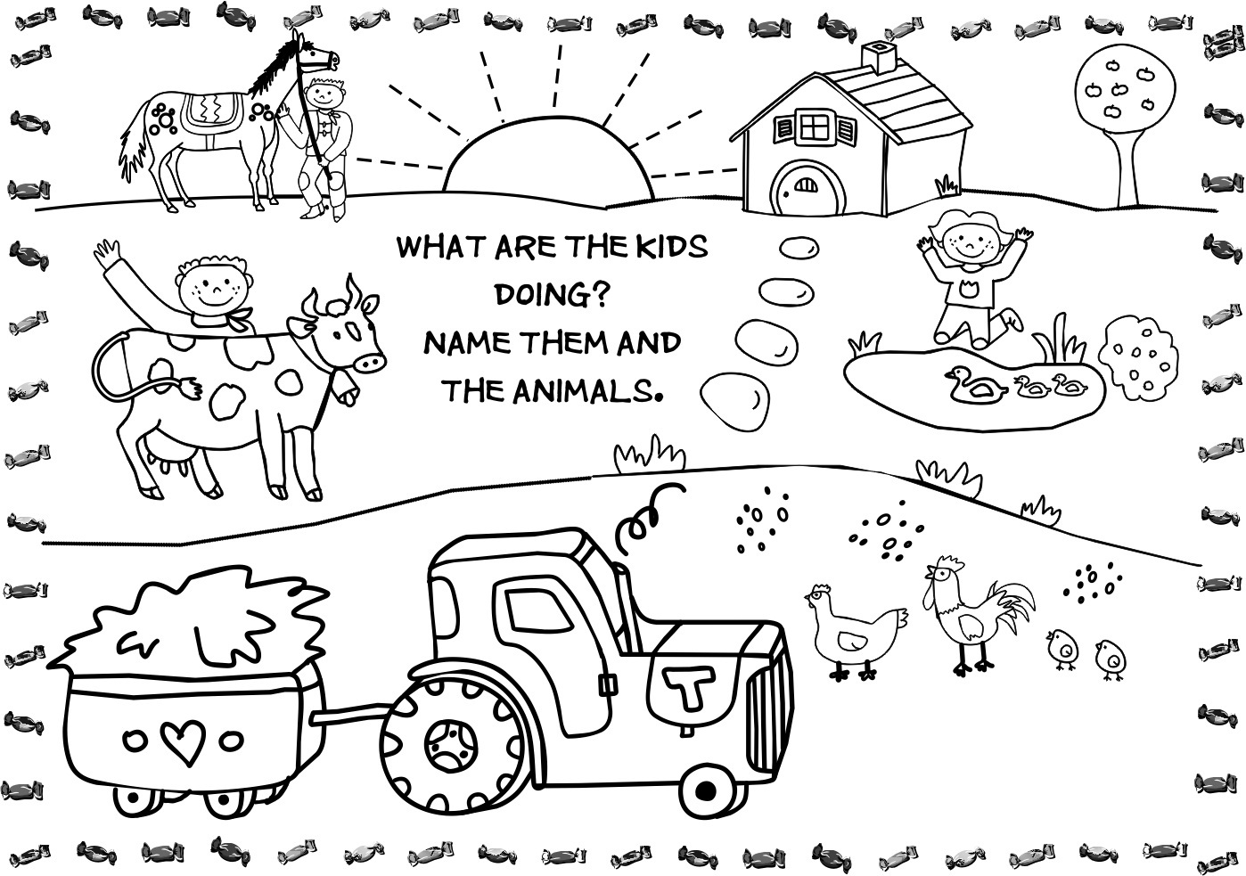 50 farm coloring pages to print and color.