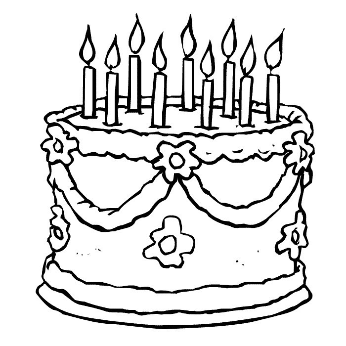 Coloring Pages of Birthday Cakes