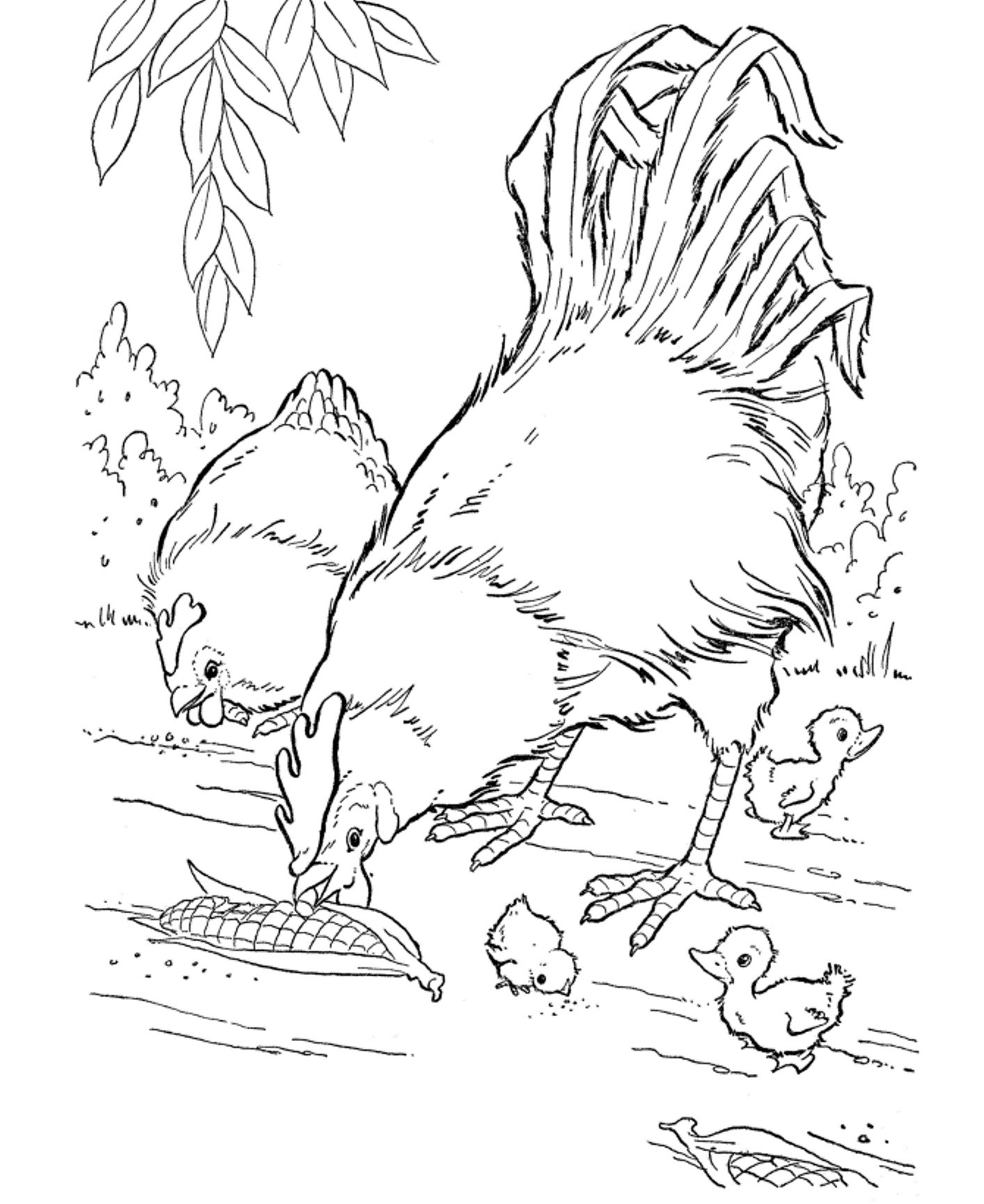 Free animals coloring pages for kids to print - Farm Animals Coloring Page