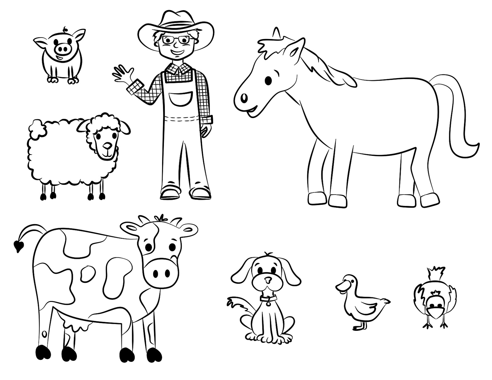Free printable farm animal coloring pages for kids Coloring book pictures of farm animals