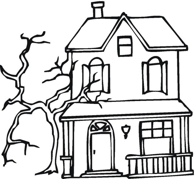 free printable haunted house coloring pages for kids - Haunted House Coloring Pages