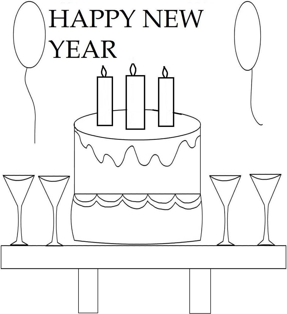 Free coloring pages new years - Free Printable Happy New Years Coloring Page
