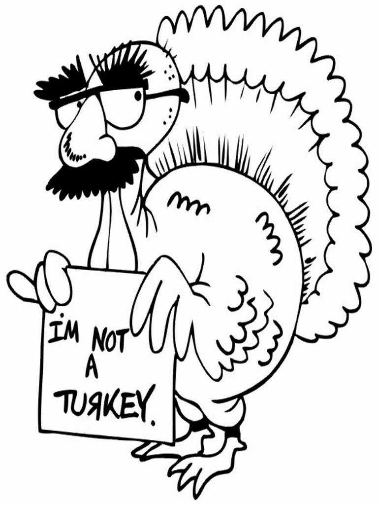 Free printable funny coloring pages for kids for Turkey coloring pages to print