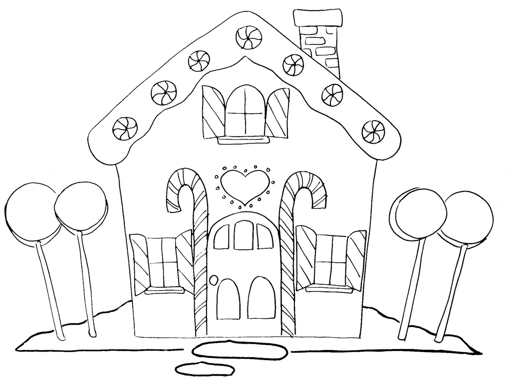 gingerbread house coloring page - Lollipop Coloring Pages Printable