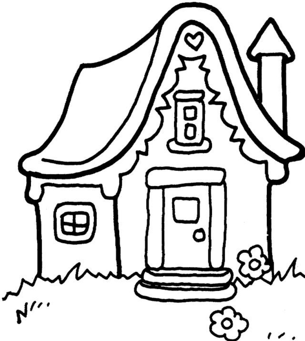 Free coloring pages houses and homes - Gingerbread House Coloring Pages For Kids