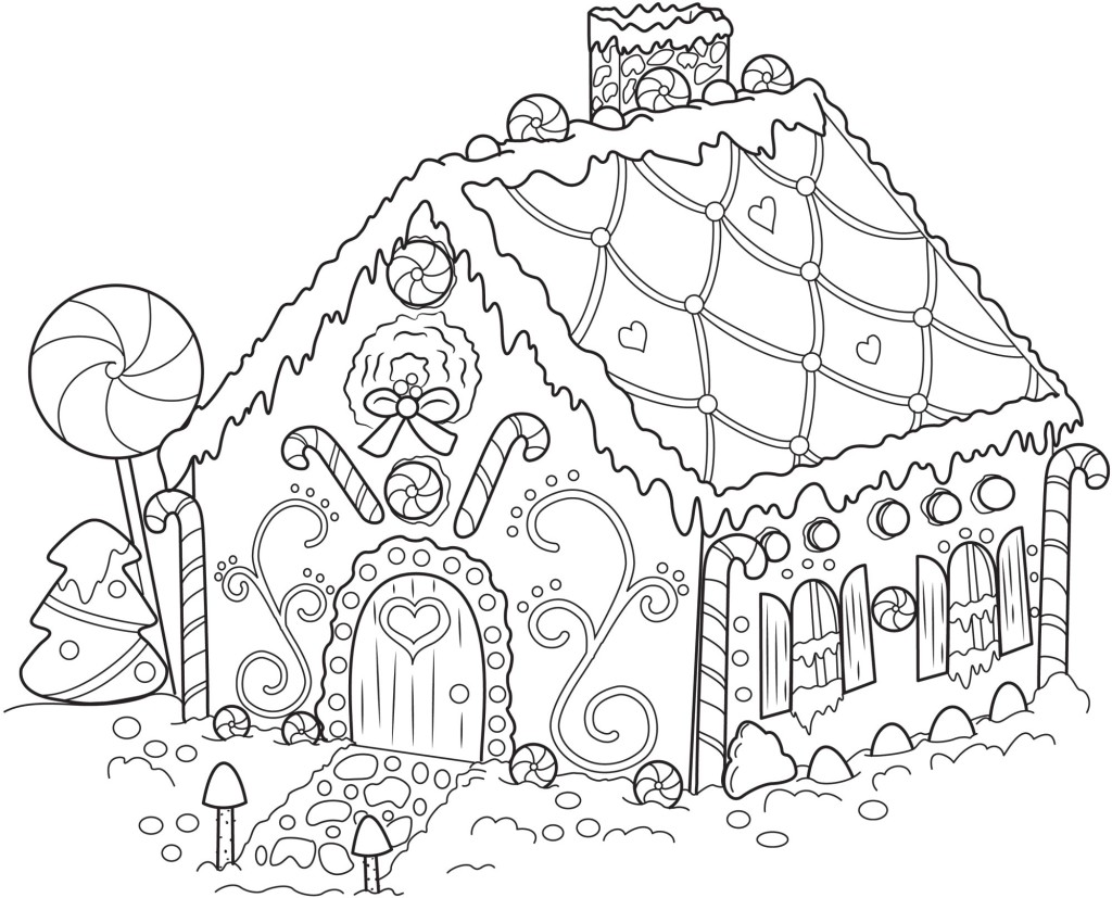 Free printable snowflake coloring pages for kids for Gingerbread house coloring pages